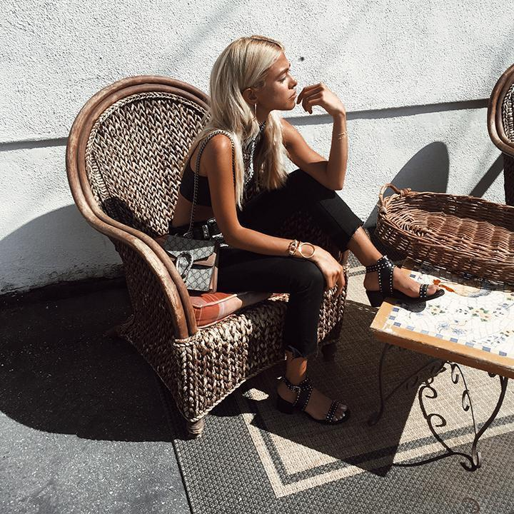 102af43a9e my blonde life revolve brigitte bikini top in halston heritage slim fit  ankle tie pants lord and taylor steve madden gila leather studded sandals  ...